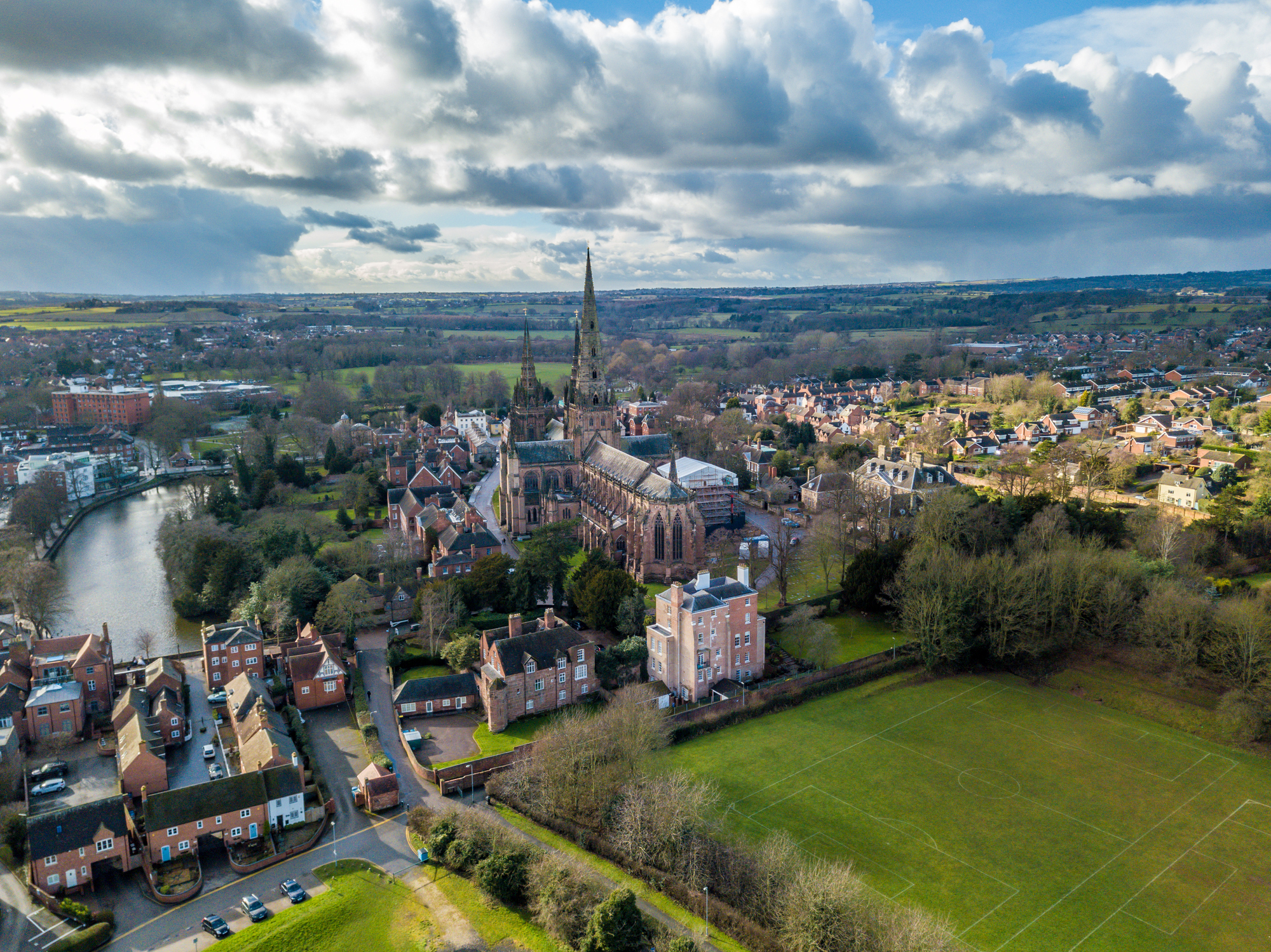 Looking over the City of Lichfield and the Cathedral