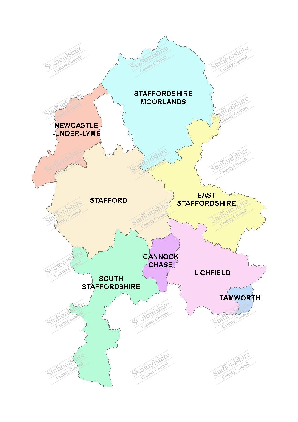 Map of Staffordshire districts