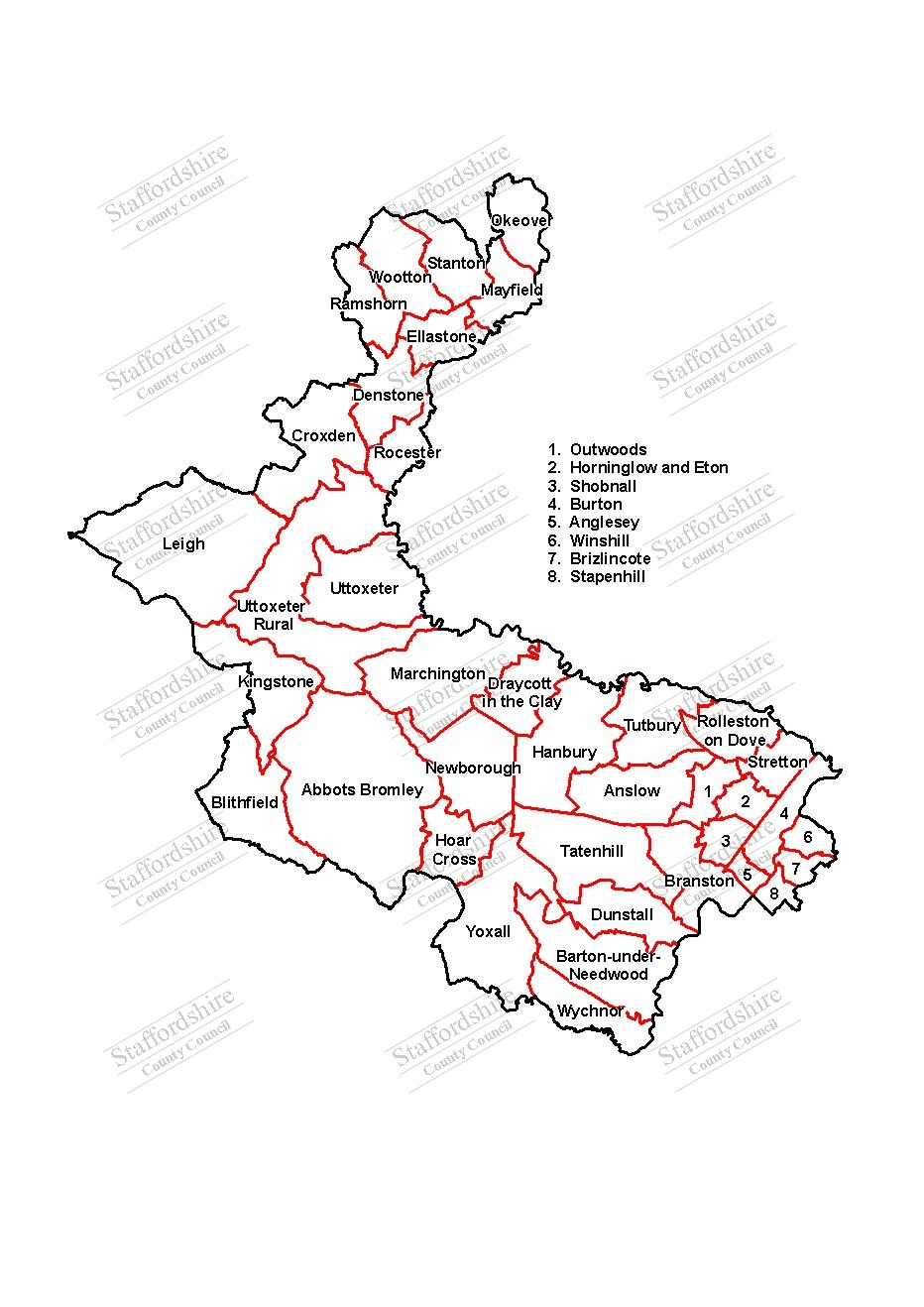 Map of East Staffordshire